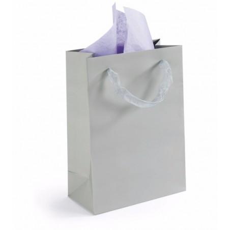 Extra shopper 19x27x10cm (in rosa o grigio: specificare nelle note dell'ordine), biglietto di auguri e adesivo chiudi pacco
