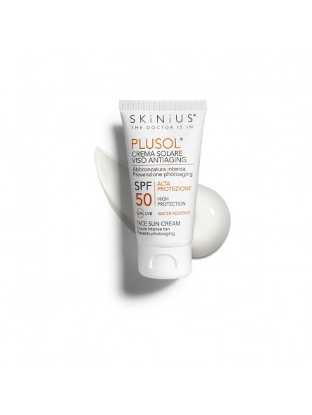 PLUSOL face sun cream SPF 50 protects from hramful radiation while ensuring a rapid intense tan and preventing premature skin ag