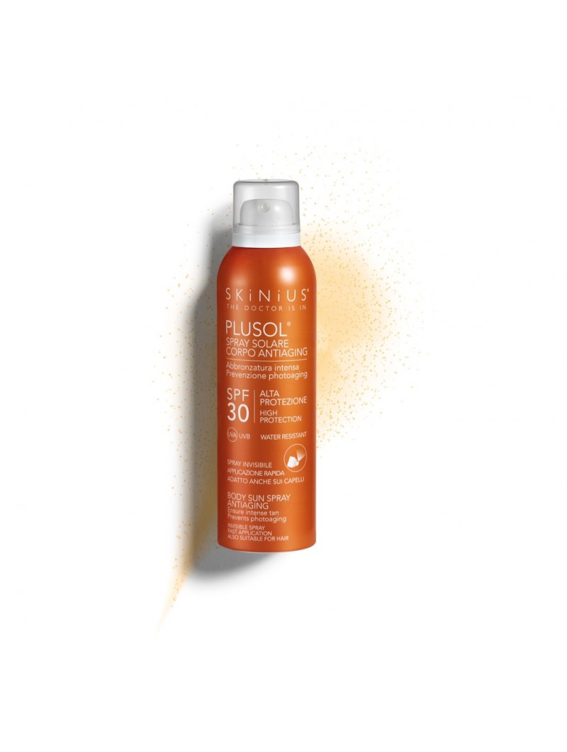 PLUSOL body sun spray SPF30 with high protection against UVA/UVB rays and deep hydration.