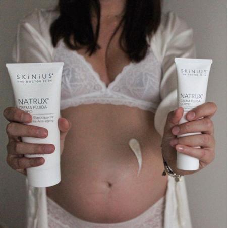 Molti dermatologi consigliano Natrux crema corpo anche per idratare la pelle in gravidanza.