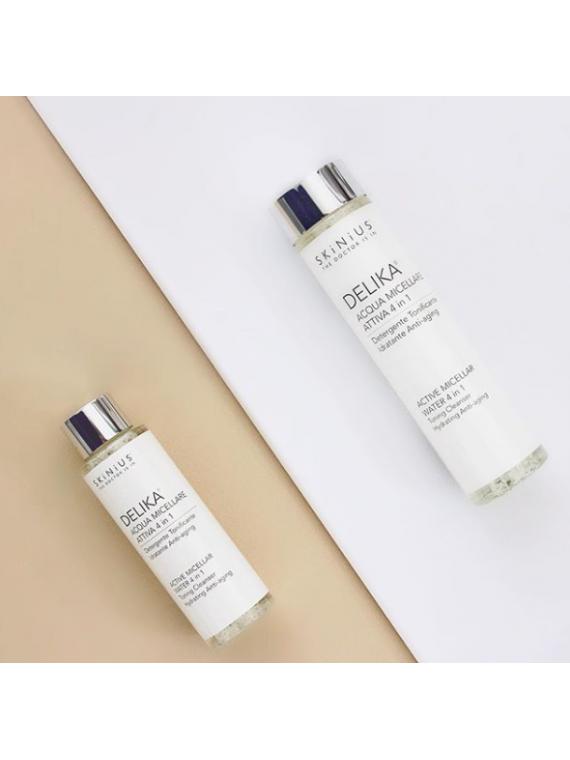 L'acqua micellare Delika di Skinius per rimuovere trucco e impurità dal viso con una piacevole sensazione di freschezza.