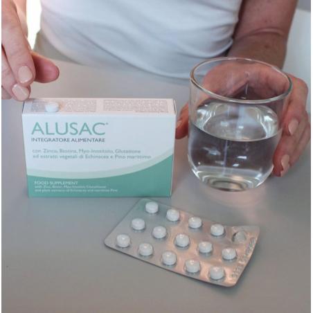 ALUSAC Integratore alimentare con biotina, pino marittimo, zinco, echinacea, glutatione e myo-inositolo