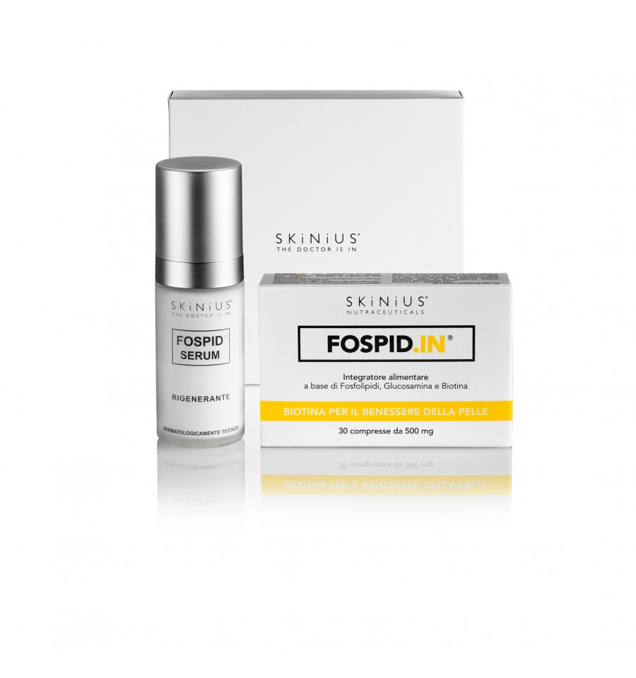 La Beauty Box Booster Antiage In&Out di Skinius unisce i due prodotti della linea Skinius a maggior contenuto di Fospidina: il siero attivo Fospid Siero Attivo e l'integratore alimentare Fospid.IN