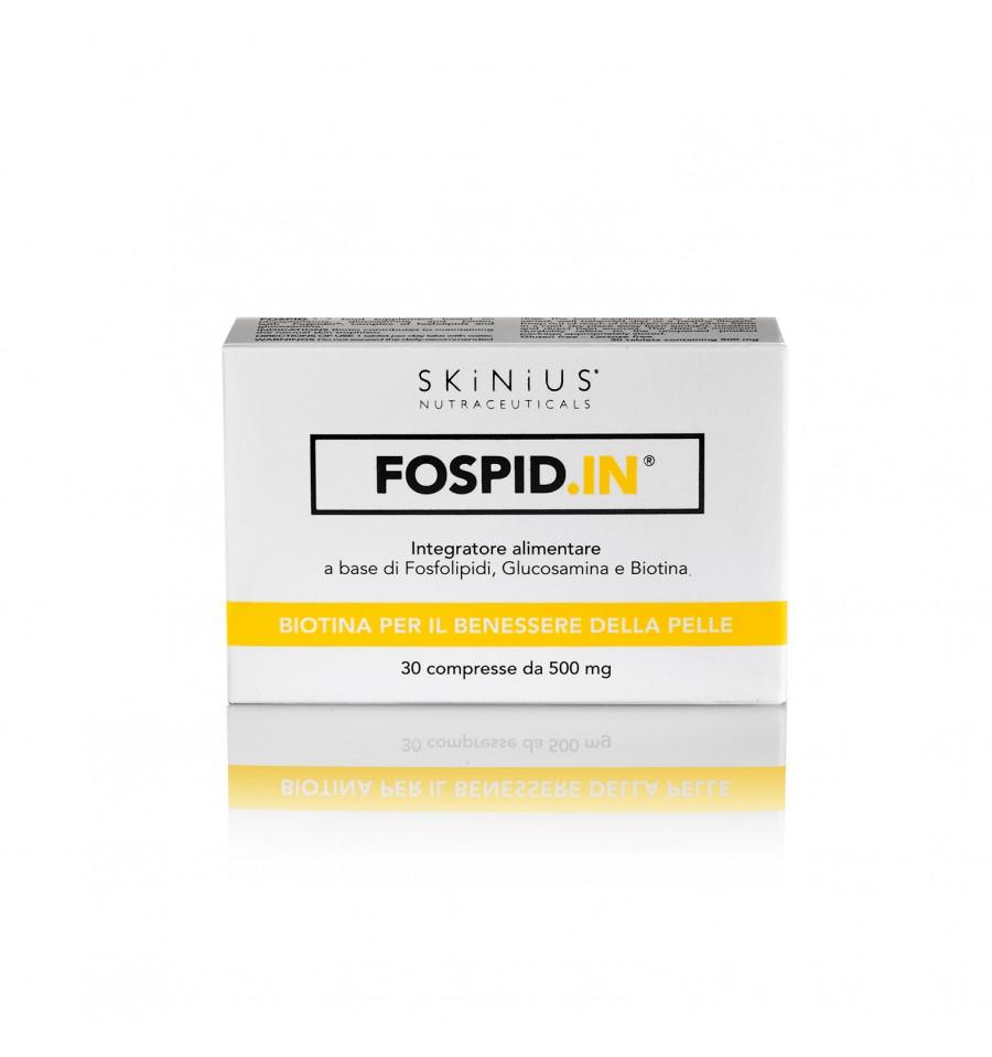 Dal complesso Fospidina, presente in tutti i prodotti dermocosmetici Skinius, nasce Fospid.IN compresse, l'integratore per la pelle a base di fosfolipidi, glucosamina e biotina.